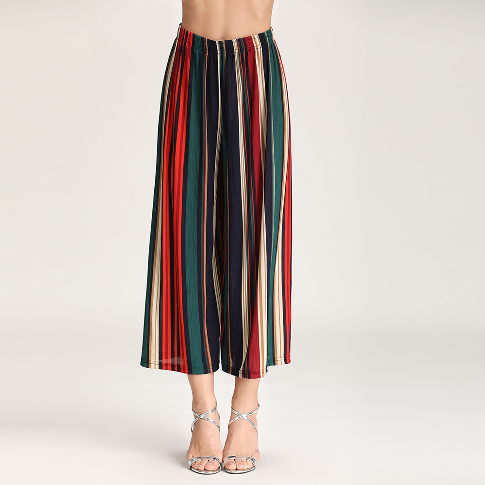 2019 new European new printing wide legged pants elastic waist loose slacks female wave speed amazon sells hot style in Pants amp Capris from Women 39 s Clothing