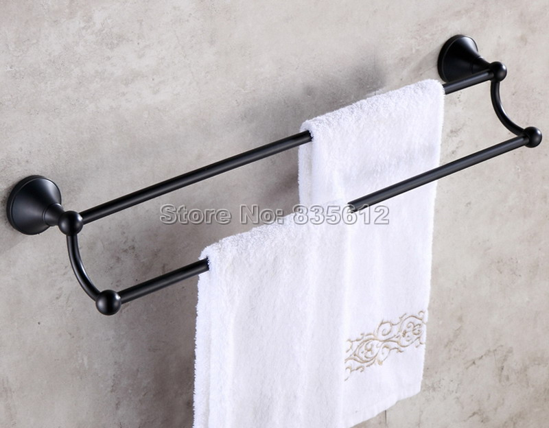 Bathroom Accessory Black Oil Rubbed Bronze Wall Mounted Double Towel Bar Rail Towel Holders Wba852 luxury artistic towel bar single towel holder wall mounted bathroom towel rail rod oil rubbed bronze finish