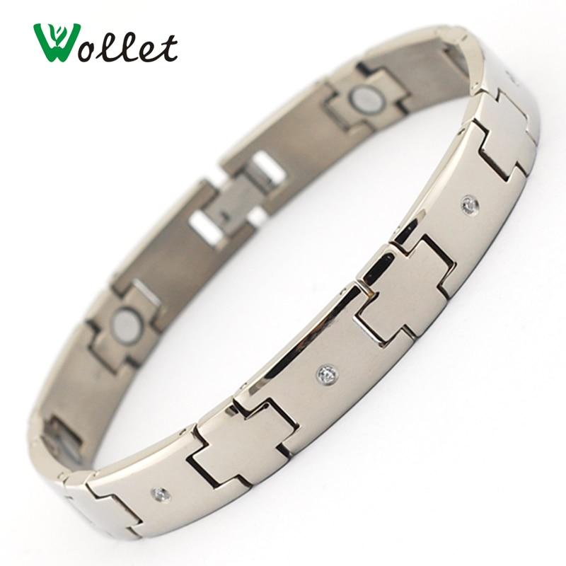 252259cc3562 Wollet hombres cadena de la mano moda joyería salud radiación titanio bio  cristal magnético Salud Energía pulseras para las mujeres hombres