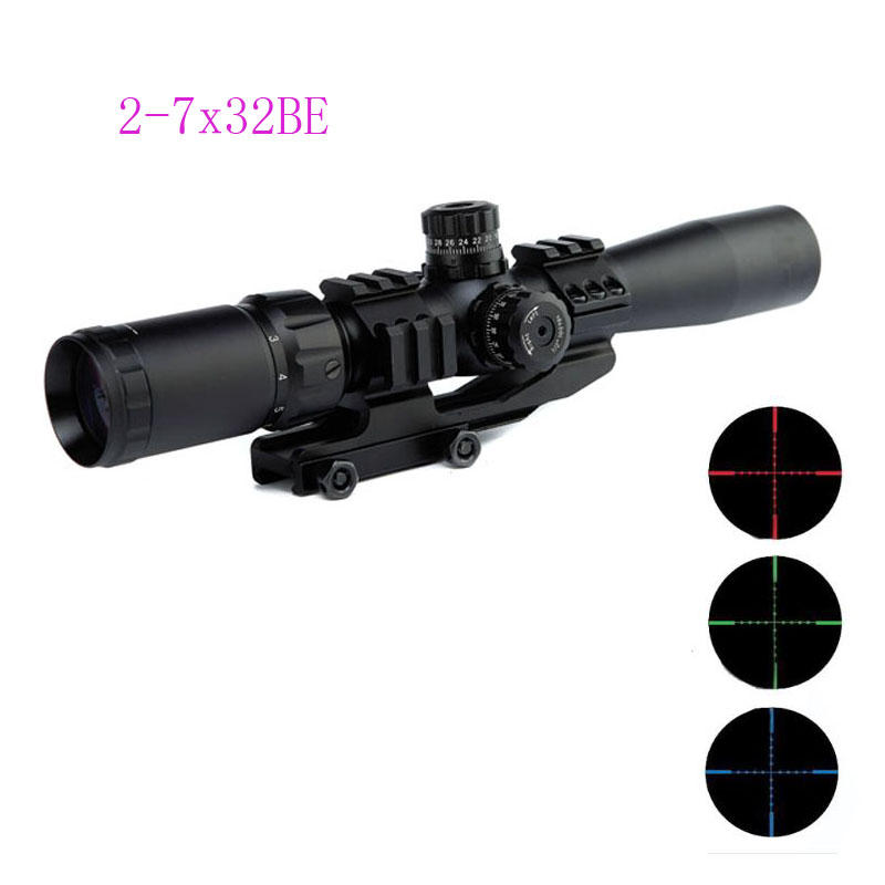 New Compact 8cm Eye Riflescope 2-7X32 Rifle Scope Scout Mount Combo Reticle Optical Sight Scope Three Color Luminated Sight