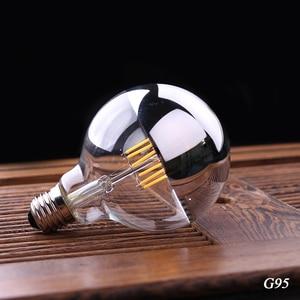 Image 4 - Vintage Edison LED Bulb Dimmable Silver Mirror Crown Filament LED Lamp A19 G45 G95 4W 6W 8W Warm White E27 2700K 110V 220V Light