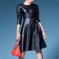 Yeni Varış Üst Marka lady Uzun Kollu Kuşaklı Elbise Kadın Moda Faux Deri Slim Fit Uzun Ceketler Coat Vestir Vestidos