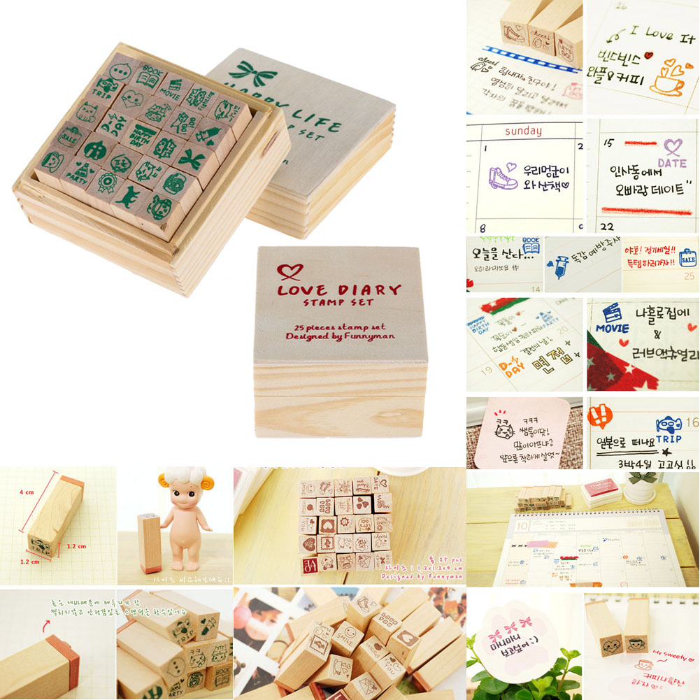 25pcs/Set Cute Cartoon Lovely Diary Pattern Wooden Rubber Stamp Cute DIY Writing Wood Stamps for Scrapbooking Decorative Stamps