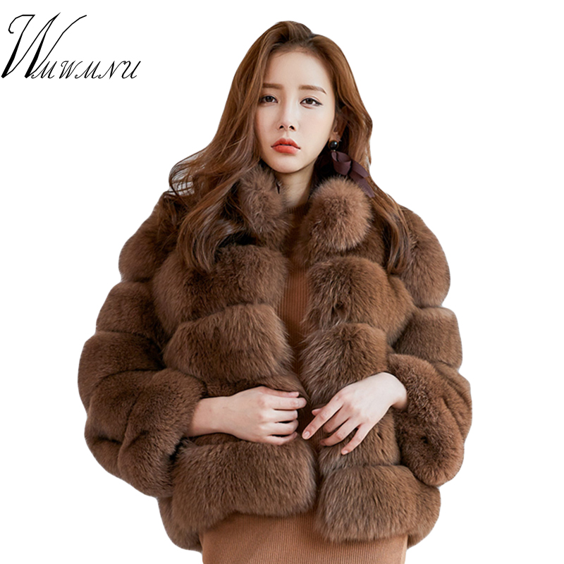Women Short Furry Fake Fur Winter Coat Plus Size Stand Collar Long Sleeve Faux Fox Fur Coat Spring Fashion Party Jacket Overcoat