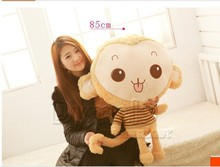 big size plush monkey toy lovely plush brown monkey doll with stripe cloth gift about 85cm