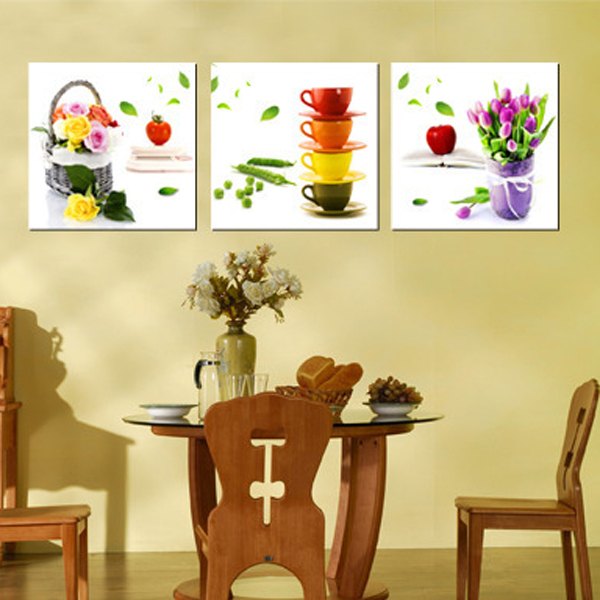 3 Panel Oil Painting On Canvas Large Flower Pictures Wall Art For Dining Room Poster Printings