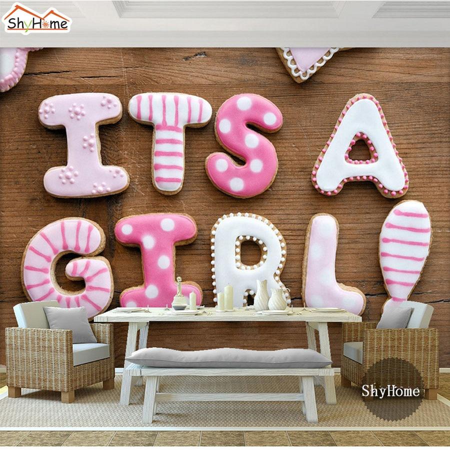 Cute It's a Girl Letter Wood Board Pattern 3D Kids Room Wallpaper for Walls Mural Rolls Livingroom Children Bedroom Home Decor