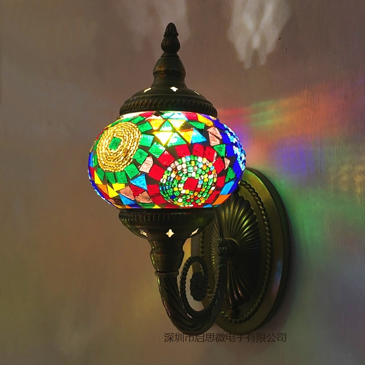 Newest E14 Hand inlaid glass mosaic bedroom living room decorative Wall Lamps of Mediterranean style Turkish