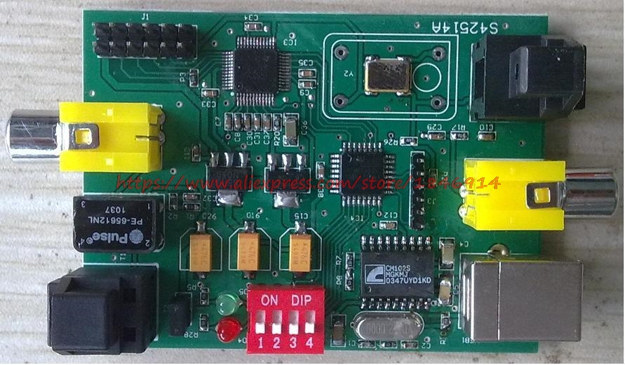Free Shipping SRC4392 Asynchronous Ascending Frequency Decoder Board (with USB/ Coaxial / Fiber /I2S)