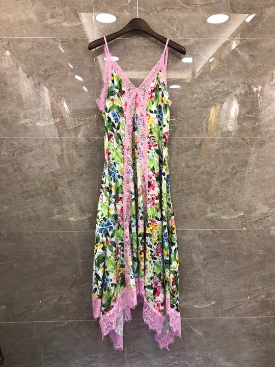 Summer 2019 New Female Printed Patterns Coloured Shoulder Sling Dress 512