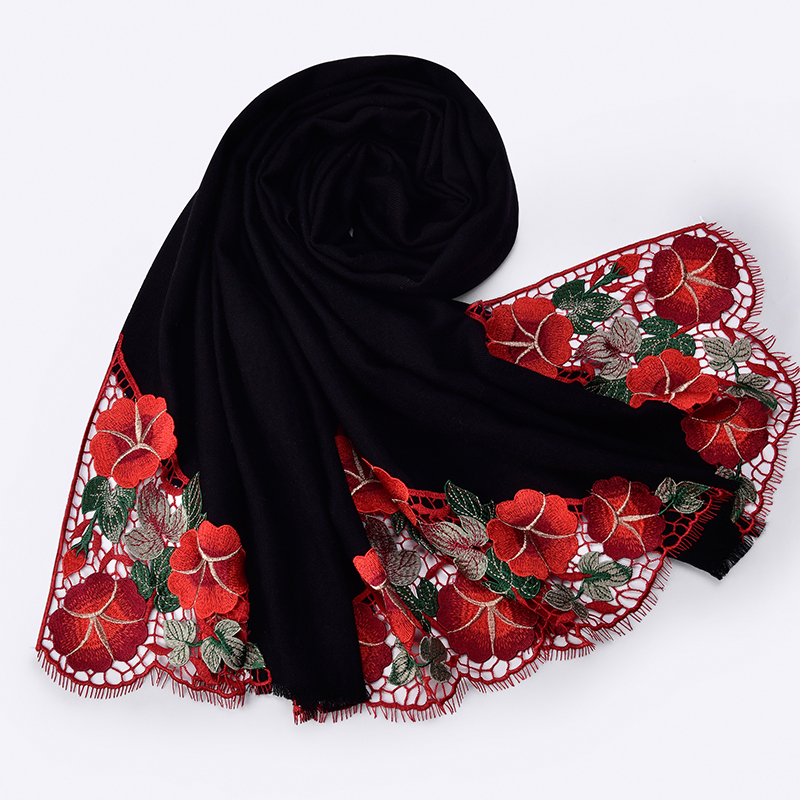 Winter 100% Wool Scarf For Women Shawls and Wraps Warm Wool Long Scarves for Ladies Luxury Flower Embroidery Cashmere Scarf
