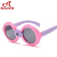 Dilicnかわいい小さなクマ子供シリカゲルラウンドサングラス子供漫画動物偏光サングラスuv400眼鏡ゴーグル