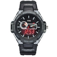 TVG Brand Dual Display watches analog-digital date week men sports wristwatch High Quality Student rubber strap waterproof watch