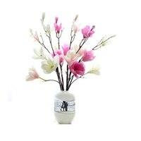 INDIGO-Grandes Magnólia de Seda (5 flores/caule) Decorativa Da Flor Do Casamento Buquê de Orquídeas Flor Floral Do Partido Do Evento frete Grátis
