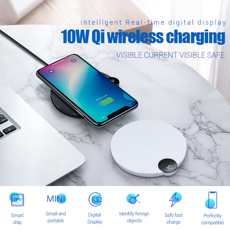 Baseus LED Digital Display Wireless Charger for iPhone X XR XS Max 8 Qi Wireless Fast Charger for Samsung Galaxy S10 Huawei P30 2