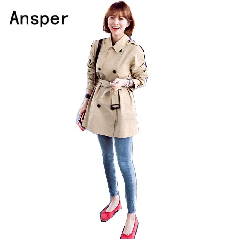2018 winter women cotton coat Camel Women   Trench   Fashion Lady Long Outerwear Turn Down Collar Sash Black Buttons