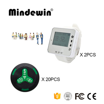 Mindewin Wireless Waiter Calling System 20PCS Table Call Button M-K-3 and 2PCS Watch Pager M-W-1 Pager Call System