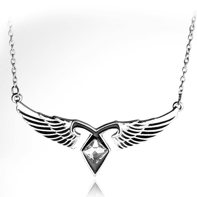 Movie Jewelry Mortal Instruments City of Bones Ashes Angel Wings Power Rune Pendant Necklace Vintage Style Statement Necklace