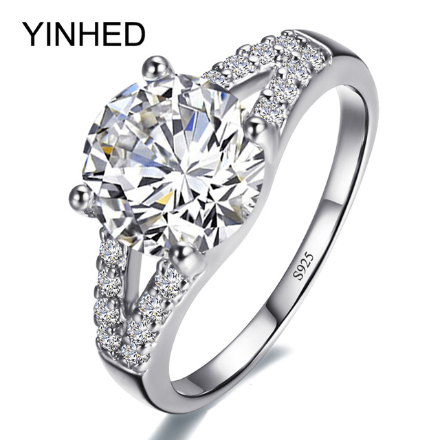 YINHED Luxury Brand Wedding Rings for Women Solid 925 Sterling Silver 2 Carat Cubic Zirconia Engagement Ring Jewelry ZR228