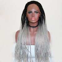 Fantasy Beauty Dark Roots Ombre Grey Braided Long Synthetic Lace Front Wig For Women African American Artificial Hair Braids Wig