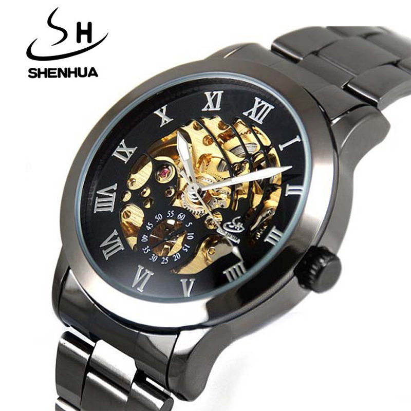 Shanghai Shenhua Watch Men Steampunk Black Skeleton Automatic Mechanical Wrist Watches For Men relogio masculino reloj hombre