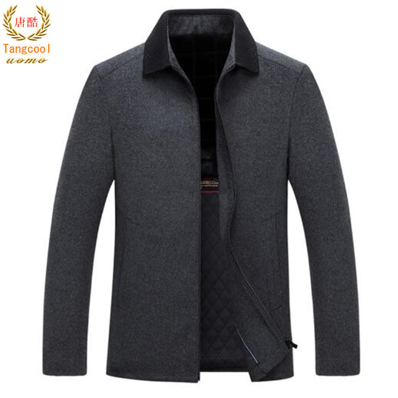 все цены на 50% Merino high quality wool coat 2018 men's brand autumn winter thick wool blended jacket онлайн
