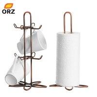 ORZ Retro Kaffee Teetasse Becher Halter Stehen Und Rolle Seidenpapier Halter Rack Vintage Eisen Küche Speicherorganisator Regal Rack