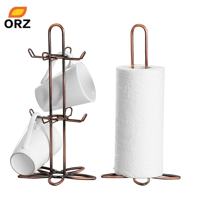 ORZ Retro Coffee Tea Cup Mug Holder Stand And Roll Tissue Paper Holder Rack Vintage Iron Kitchen Storage Organizer Shelf Rack