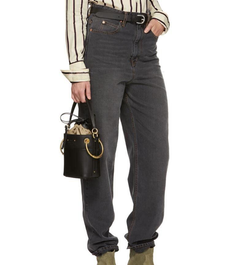 Con Denim Sueltos Algodón Gris 2018 Negro Calle Bucles Pantalones Moda Oscuro Bolsillos Cintura Mujer Imperio Vaqueros De Cinturón Mamá 7nxHPwOO