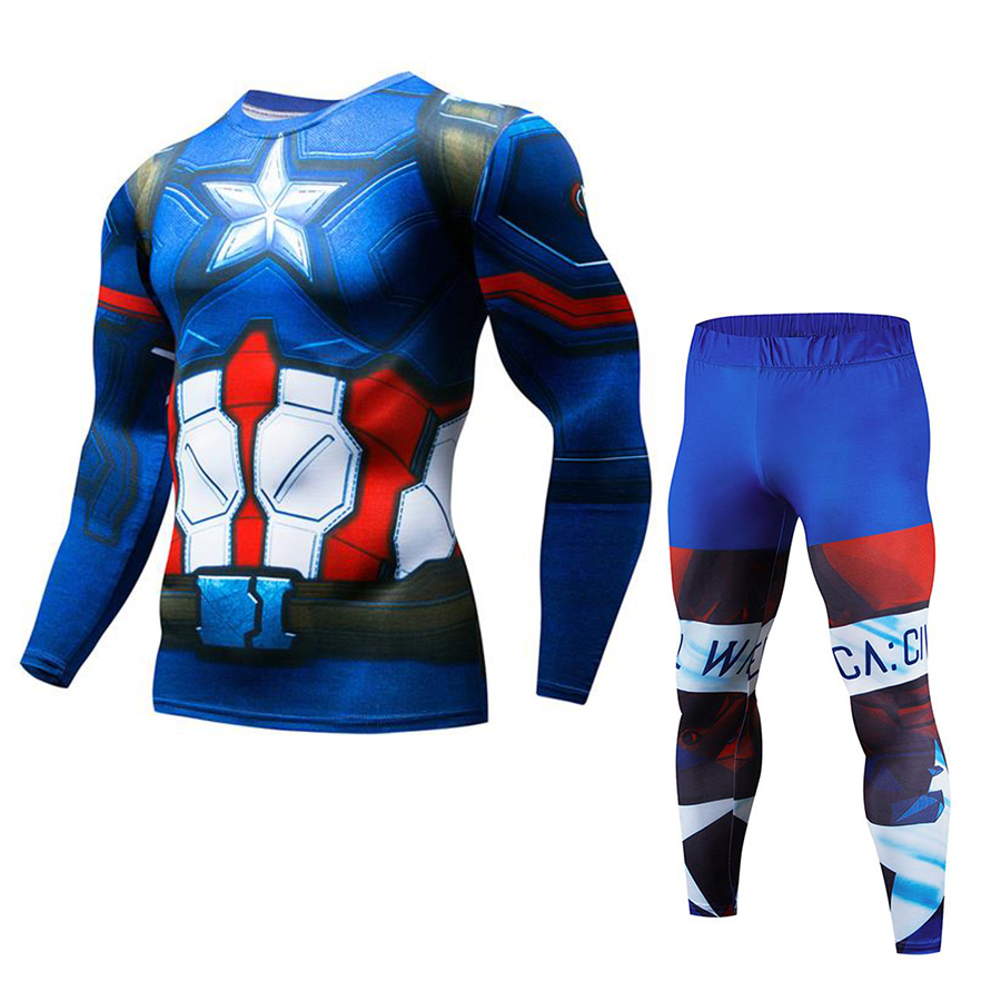 Mens Avenger Captain America Two Piece Set Cosplay Suits Male Crossfit T-Shirt Fitness Legging Outfit Pant Compression Tracksuit