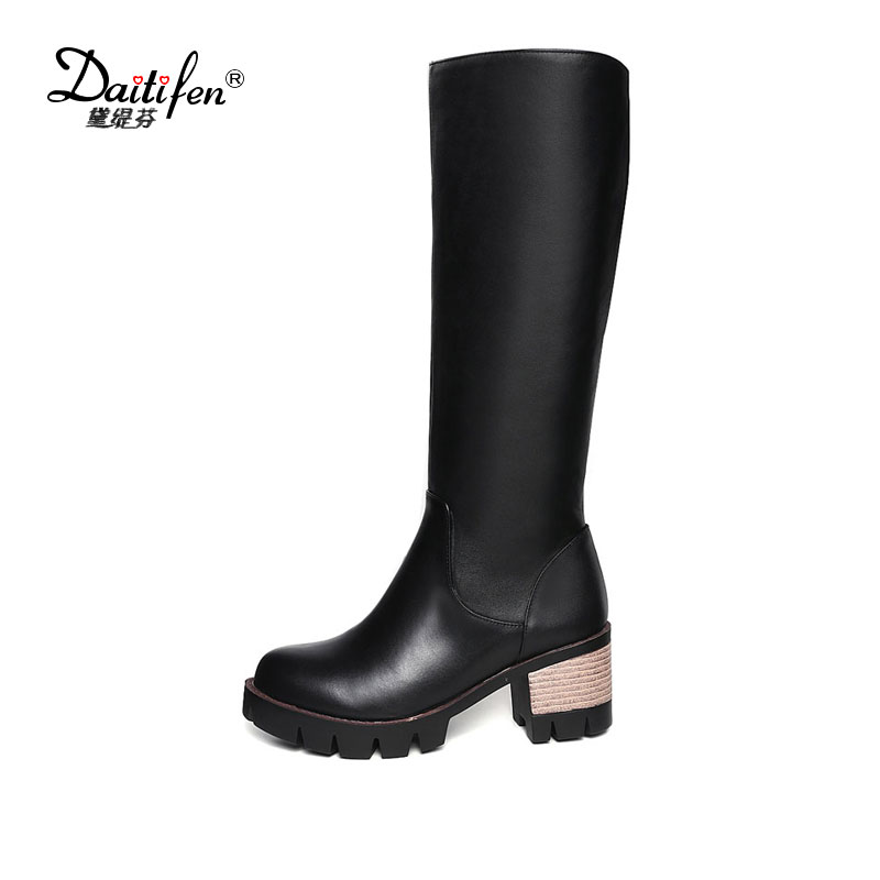 Daitifen Cow Genuine leather Microfiber Black square heel women riding knee high boots winter Round toe platform ladies shoes nayiduyun women genuine leather wedge high heel pumps platform creepers round toe slip on casual shoes boots wedge sneakers
