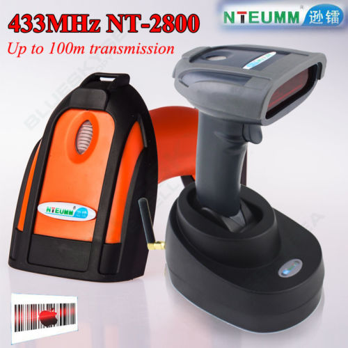 ФОТО Free Shipping!NT-2800 433MHZ Wireless Barcode reader Bar Scanner Inventory Storage Wireless Barcode Scanner 1D Laser W/Base
