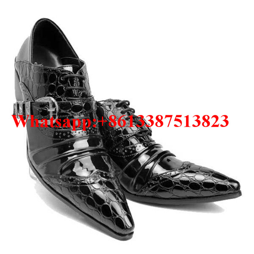 ФОТО Fashion Mens Black Embossed Leather Belt Buckle Men Dress Shoes Pointed Toe Slip-On Flats Loafers Party Wedding Chaussure Homme