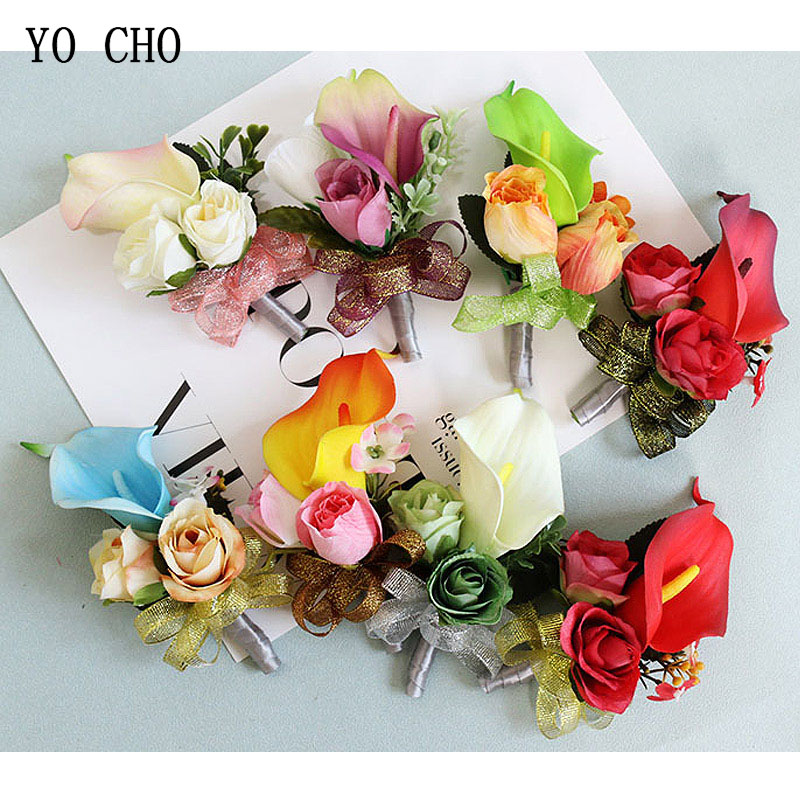 YO CHO Multicolor Wedding Decor Hand Flower Calla Lily Rose Ribbon Wrist Flower Corsage Bride Decor Suit Brooch Bracelet Flowers