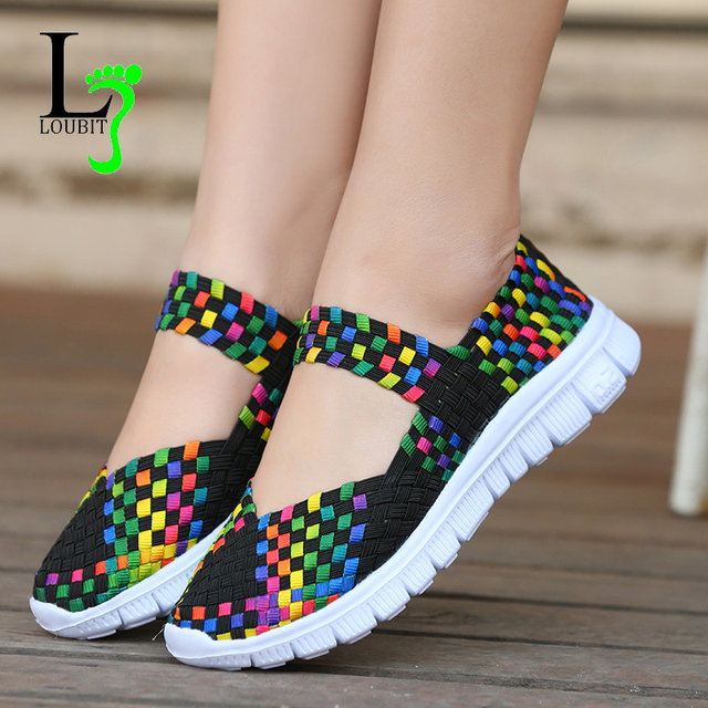 Women Woven Shoes 2019 Summer Breathable Handmade Shoes Fashion Comfortable Women Flats Casual Sneakers Sandals Big Size 35-42