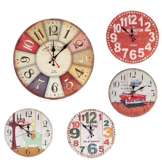 office clocks. Cute Wooden Wall Clock Cartoon Round Vintage Rustic Kitchen Home Office Decor Chic Clocks