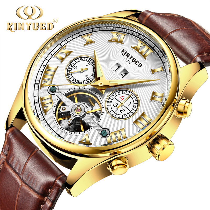 KINYUED Skeleton Wristwatch Automatic Gold Leather Mens Mechanical Watches Calendar Self-wind Luminous Hands Horloge Mannen 2018 women favorite extravagant gold plated full steel wristwatch skeleton automatic mechanical self wind watch waterproof nw518