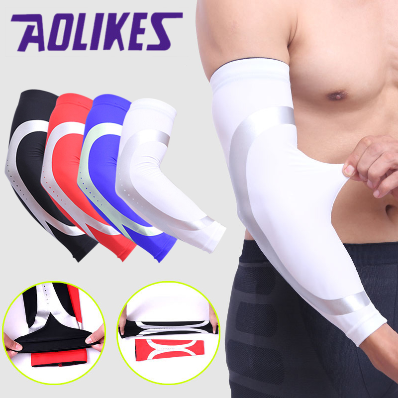 1Pcs UV Protection Sports Safety Arm Sleeve Fitness Armguards Outdoor Cycling Arm Warmers Breathable Quick Dry Elbow Pads Braces