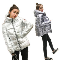 Silver Bright Jacket Coat Women Winter Warm Down Cotton Padded Short Parkas Bread Style New Autumn