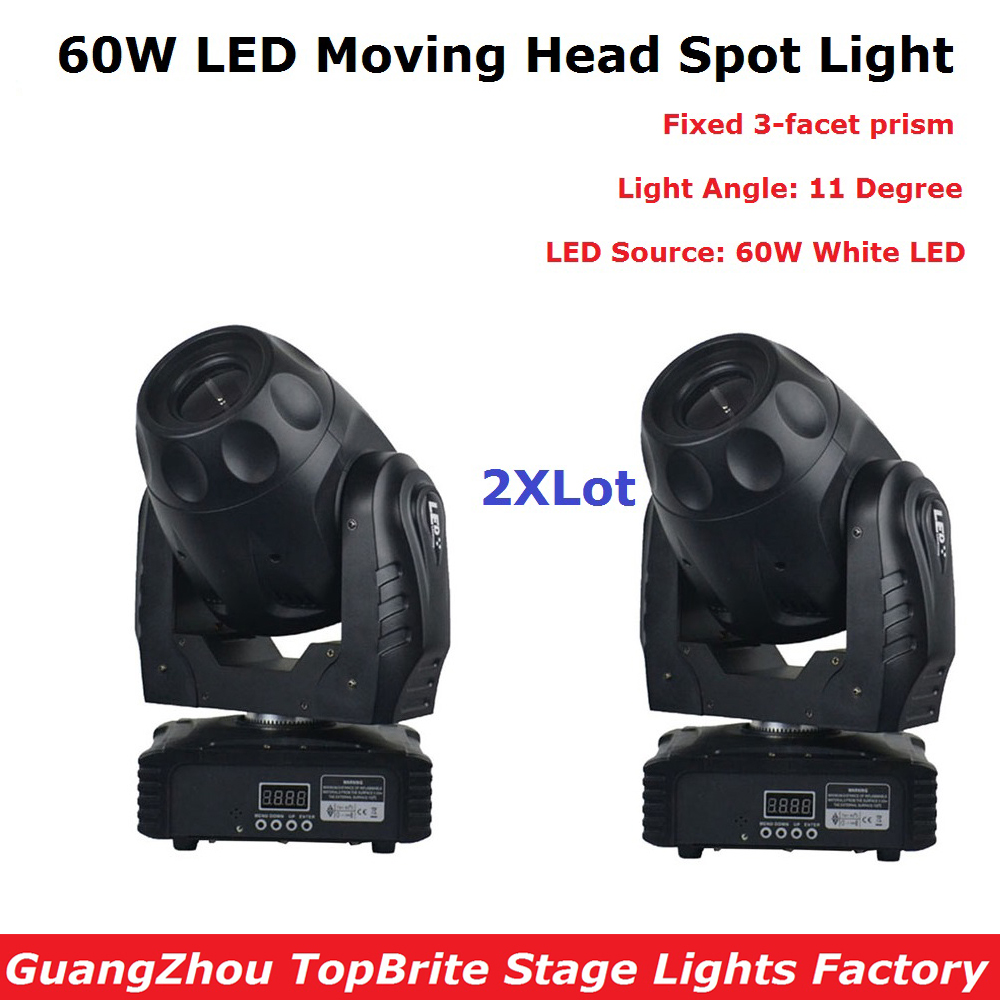 2Pcs/Lot Best Price 60W LED Spot Moving Head Light For Stage Bar Disco Party DMX Stage Light DJ Lights DMX 5/15 Channels 4pcs lot 10w led spot moving head light led inno pocket spot mini moving head dmx 10w led patterns stage party disco dj lighting