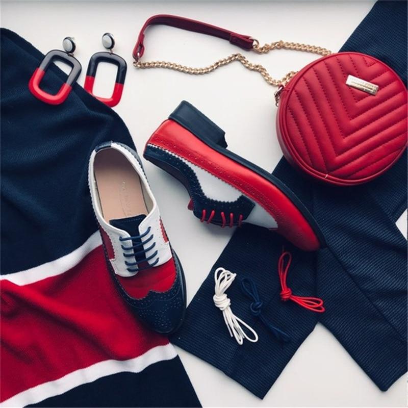 Femmes oxford printemps chaussures mocassins en cuir véritable pour femme baskets femme oxfords dames chaussures simples sangle 2019 chaussures d'été - 6