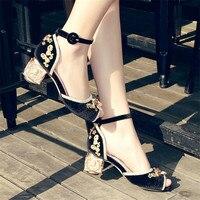 Handmade Mary Jeans Women Fashion High Heels Gladiator Sandals Peep Toe Women Pumps Wedding Dress Shoes