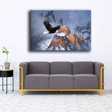 Framework Or Frameless Canvas Painting Modern HD Print Type 1 Panel Bald Eagle Winter Flight On Snow Mountain Poster Wall Decor