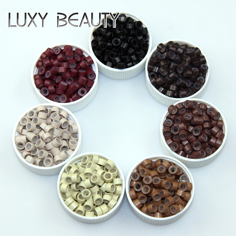 250pcs Silicone Micro Rings Link Ring 5.0*3.0*3.0mm Micro Tube Beads Micro Link For Fusion Hair Extension Accessories