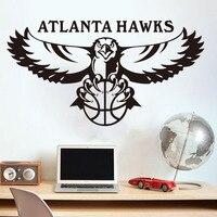 Frete grátis decoração de casa DIY NBA Atlanta Hawks basquete profissional Americano logotipo da equipe adesivos de parede quarto sala de estar