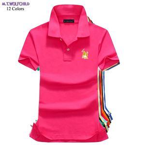 Женская приталенная рубашка-поло, повседневная хлопковая рубашка с короткими рукавами и принтом большой лошади, 2019