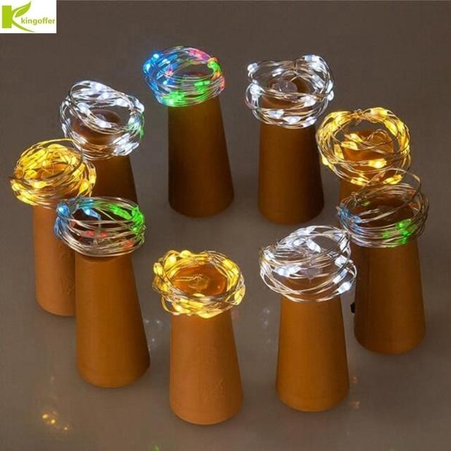 Kingoffer 3Pcs 2m 20 LED Battery Lamp Cork Shaped Bottle Stopper Glass Wine LED Silver Wire String Light For Xmas Wedding Party