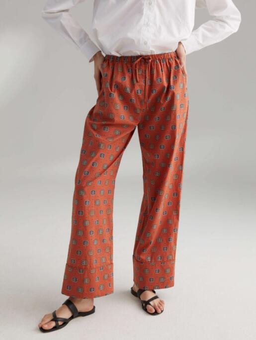 WISHBOP 나탈 바지 녹 Yellow print 신축성있는 Drawstring 허리띠 Woman Wide LEG COTTON PRINTED PANTS 2019-에서팬티 & 카프리스부터 여성 의류 의  그룹 1