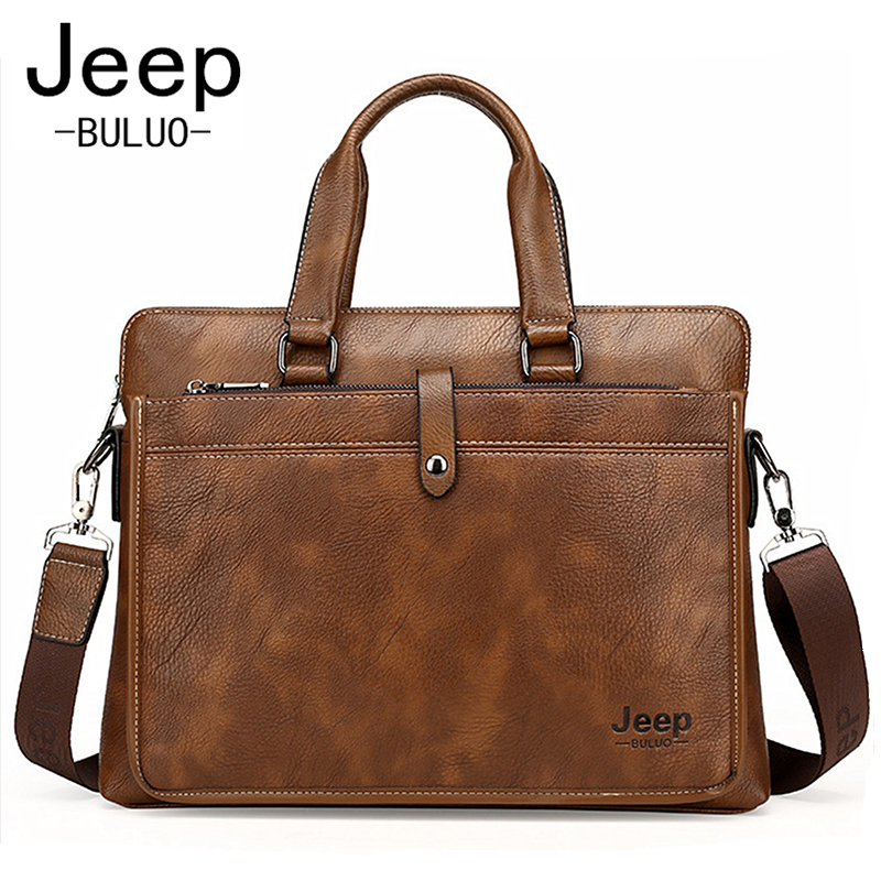 JEEP Famous Brand Men Briefcase Bags For A4 14inch Laptop Cow Split Leather Business Bag Man Shoulder Bag Handbags bolsa JP9616