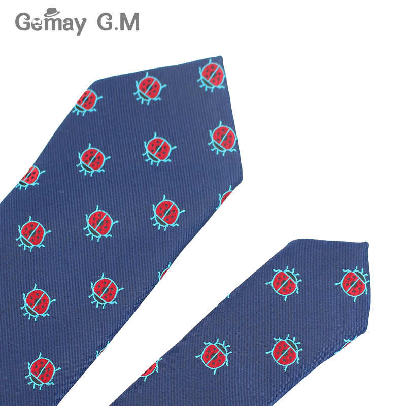 Tkanina żakardowa z poliestrem krawaty dla mężczyzn zwierząt krawaty na ślub garnitury biurowe 6cm chuda szeroka szyjka krawaty Slim Gravatas akcesoria